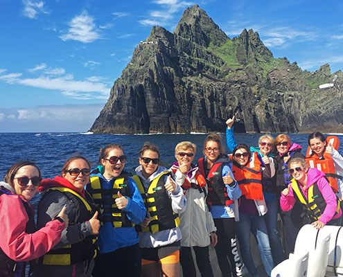 another group of tourists visiting skellig michael with skellig michael cruise