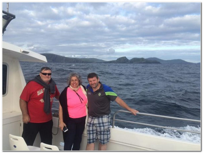 happy customers heading for skellig michael
