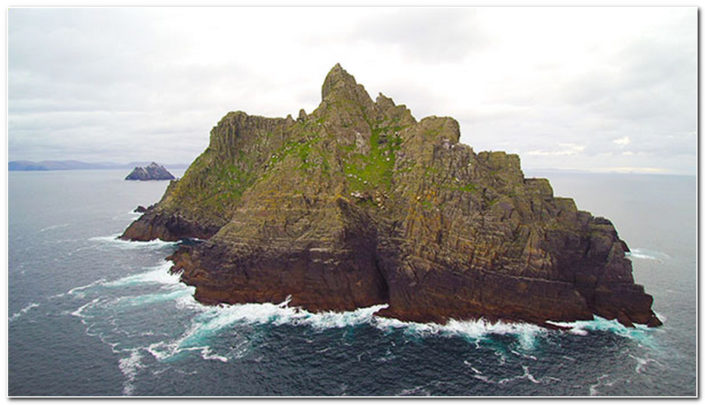 The Skelligs from a drone